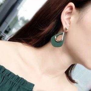 3/35 Hot Green Wooden Geometric Dangle Earrings